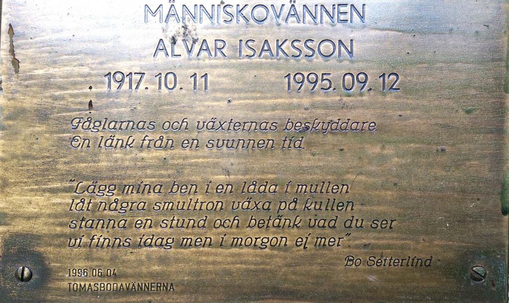 Minnestavla över Alvar Isaksson