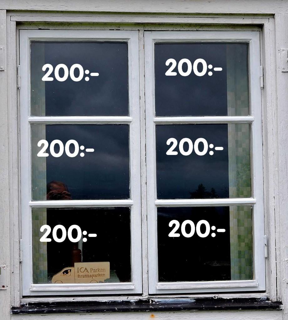 Fönsterrutor med belopp på varje ruta