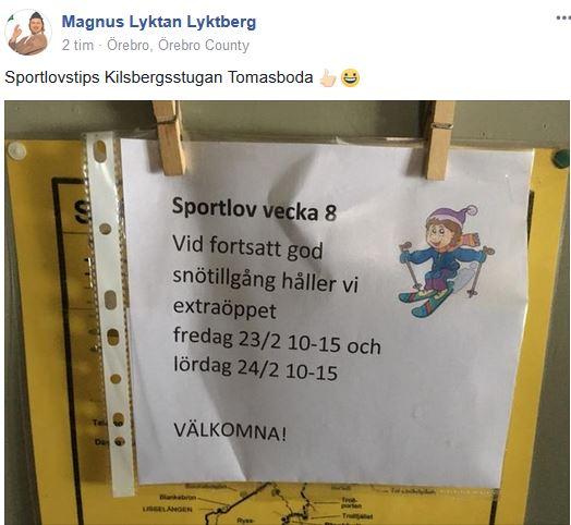 Sportlovsöppet vecka 8 2018