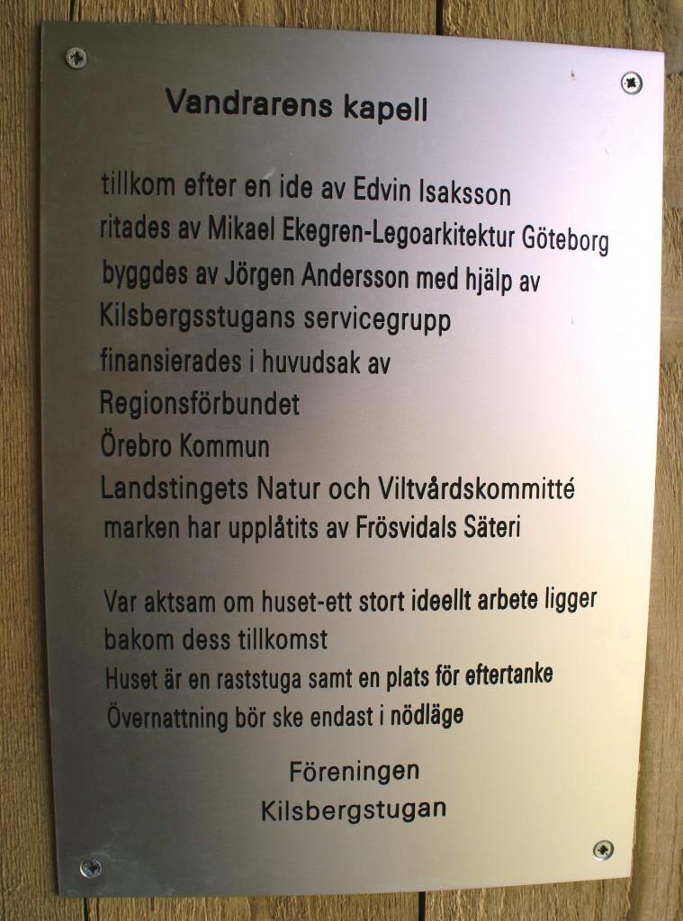 Vandrarens kapell. Information.